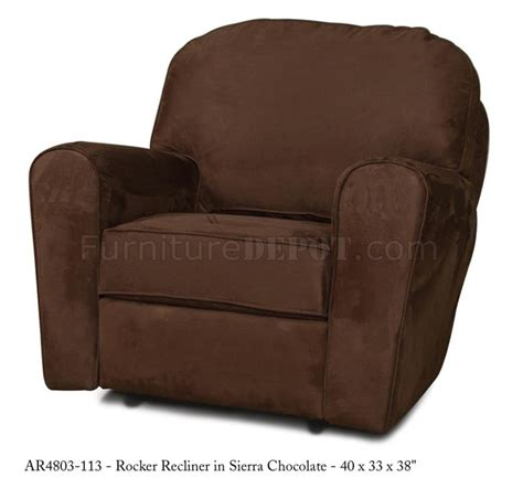 Modern Fabric Recliners by Chocolate Fabric Modern Handle Rocker Recliner