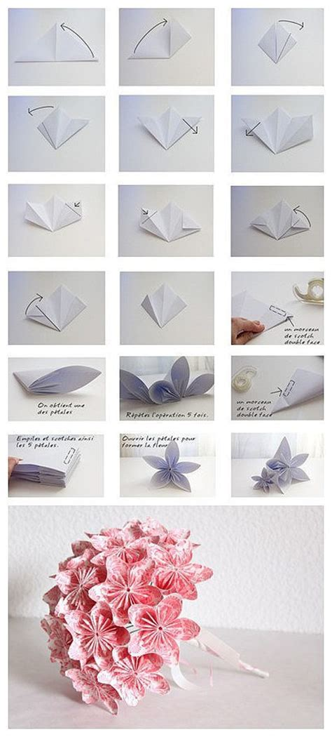 Folded Paper Flowers Tutorial - origami diy handmade flowers diy tips