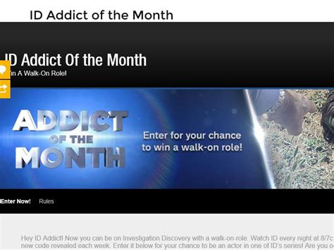 Investigation Discovery Addict Of The Month Sweepstakes - the investigation discovery addict of the month win a walk on role sweepstakes