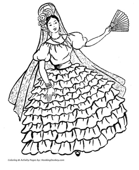 Flamenco Dancer Coloring Page flamenco dancer coloring pages