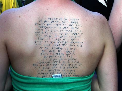 bjork tattoo bjork in braille contrariwise literary tattoos
