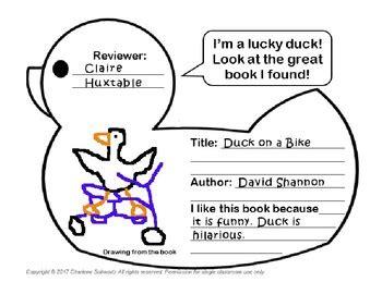 Duckling Book Report by Duck Book Report By Charlene Schwartz Teachers Pay Teachers