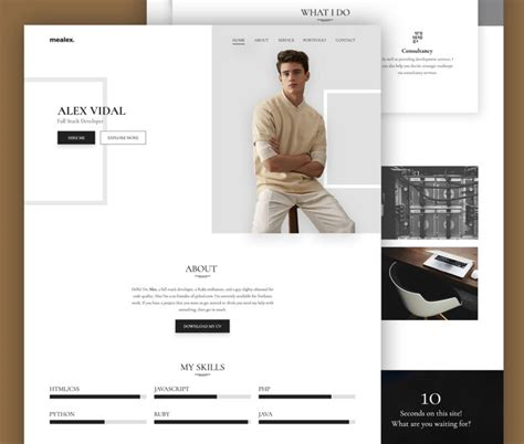 Resume And Portfolio by Free Portfolio And Resume Website Template Free Psd At