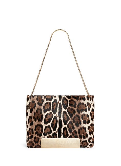 Jimmy Choo Metallic Calfskin Handbag by Jimmy Choo Carrie Calf Hair Leopard Foldover Bag In Brown