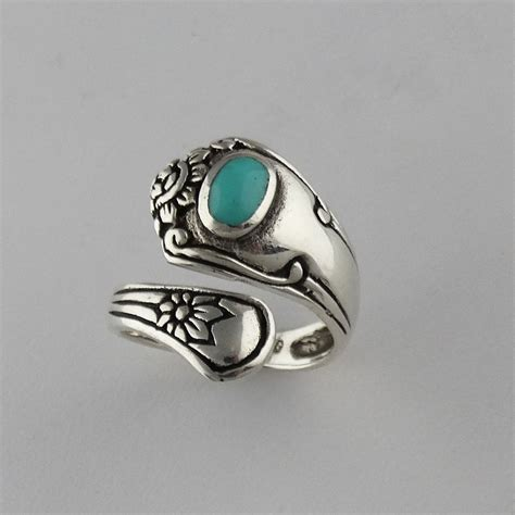 I Ring Keropy 1 flower spoon ring 925 sterling silver turquoise adjustable sizes 6 9 new ebay
