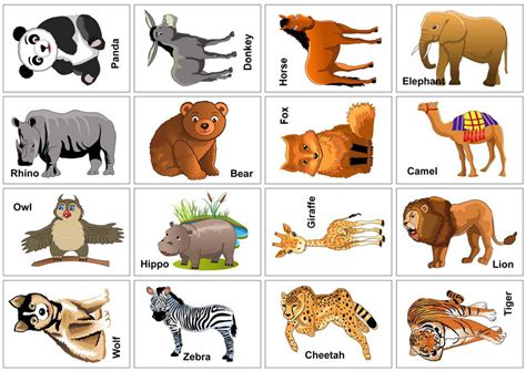 Printable Animal Cards Free | 6 best images of free printable animal flash cards