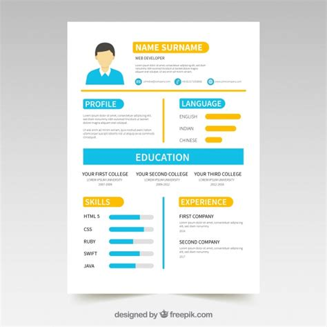 colorful resume template with infographic elements vector