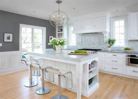 Kitchens With Wainscoting by Soothing Grey Kitchen Colors With White Cabinets And