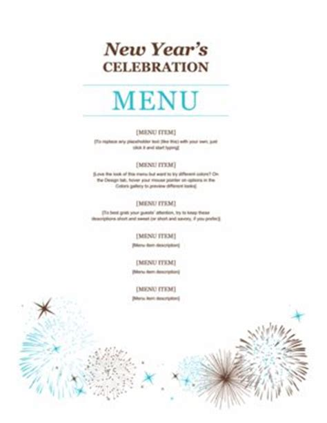 new year menu design start 2016 right with free new year s templates menu