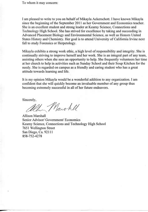 Letter Of Recommendation For College Portfolio Letter Of Recommendation Mikayla Ackerschott Senior Portfolio