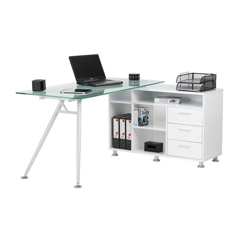 Glass Computer Desk Uk Desk White Glass Staples 174