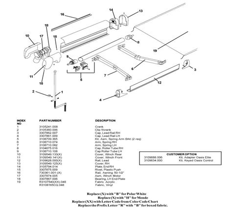 Sunchaser Awning Parts List by Dometic 9100 Power Awning Parts Diagram Oasis Door Awning