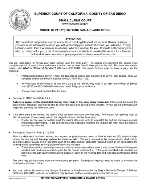 Letter Small Claims Court How To File A Small Claims In San Diego
