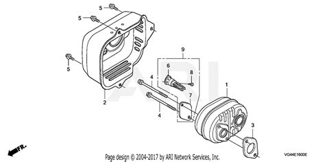 honda hrrk pdaa lawn mower usa vin mzcg   mzcg  parts diagram  muffler