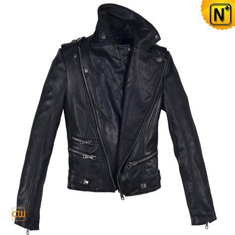 womens black leather moto women black sheepskin leather motorcycle jackets cw608114