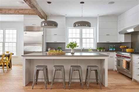 modern farmhouse kitchen lighting white and gray kitchen with tolix stools transitional