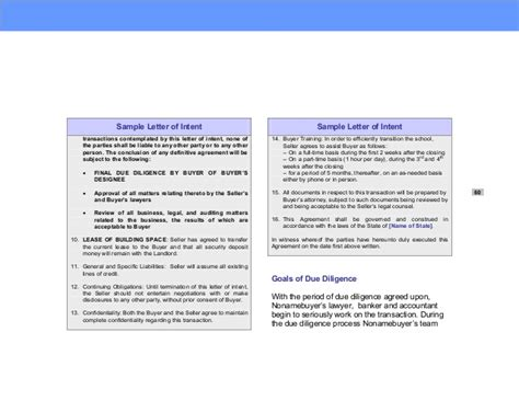 Letter Of Intent Due Diligence due diligence financing strategies for small business