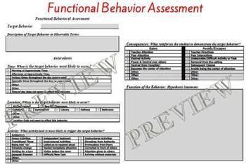 Special Education Functional Behavior Assessment Behavior Support Plan Template Functional Behavior Assessment Template