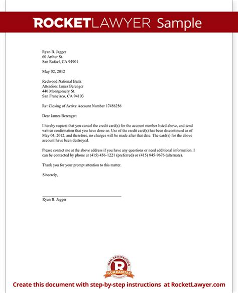 credit card cancellation letter request to cancel a