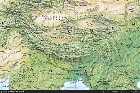 central asia physical map map of central asia