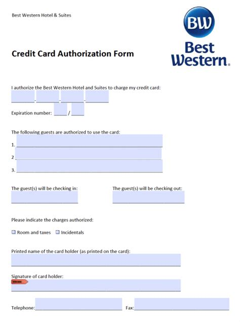 credit card authorization forms free best western credit card authorization form pdf
