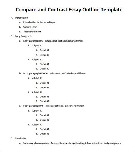 Compare And Contrast Essay Format College by Essay Outline Template 25 Free Sle Exle Format Free Premium Templates