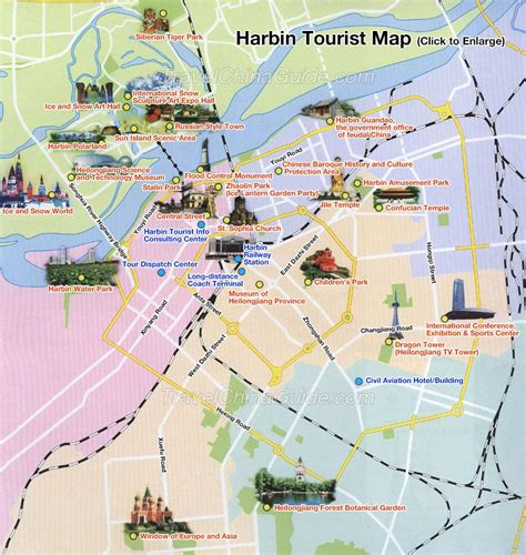map tourist china harbin map tourist map attractions