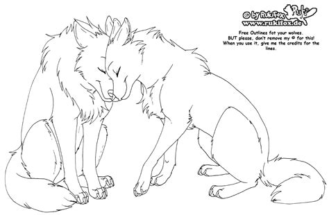 anime wolves coloring pages wolves free outline by rukifox on deviantart