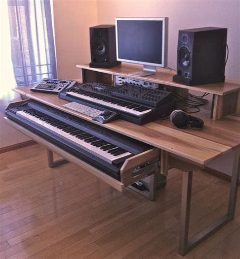home studio production desk minimalist modern audio editing mixing