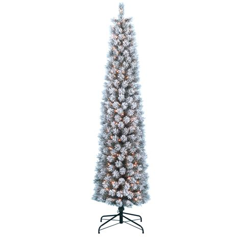 donner and blitzen tree donner blitzen incorporated 7 pre lit snow country flocked pencil pine tree with 300 clear