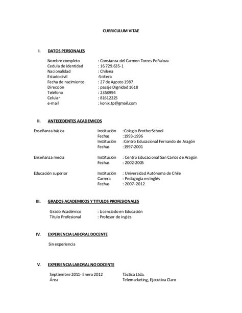 Modelo De Curriculum Vitae En Chile 2013 Curriculum Vitae K