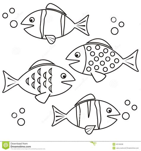 coloring conjuntos fishes coloring stock vector image 40145638