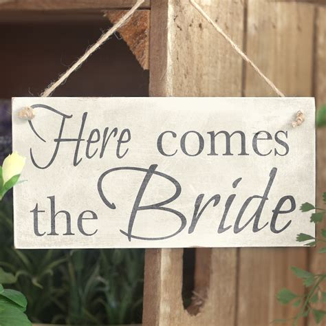 Handmade Wedding Signs - here comes the handmade wedding accessory wooden