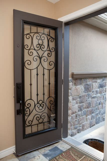 Glass Inserts For Exterior Doors Classic Style Wrought Iron Door Inserts Entry Other Metro By Lusso Design Entry Doors