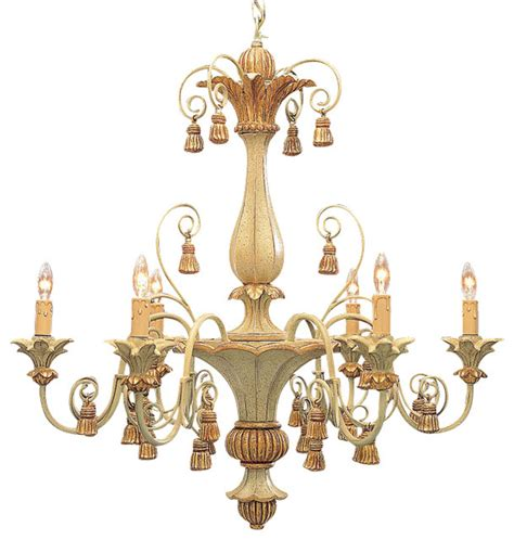 Italian Chandeliers Carved Wood Italian Chandelier With Tassels Traditional Chandeliers By Inviting Home Inc