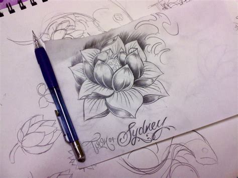 skull and lily flowers tattoo sketch photo 4 2017 real