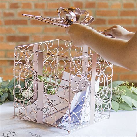 Rose Gold Scrolled Wire Wedding Gift Card Box