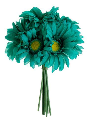 artificial silk flowers gerbera teal gerbera daisy bouquet in teal green with yellow centers