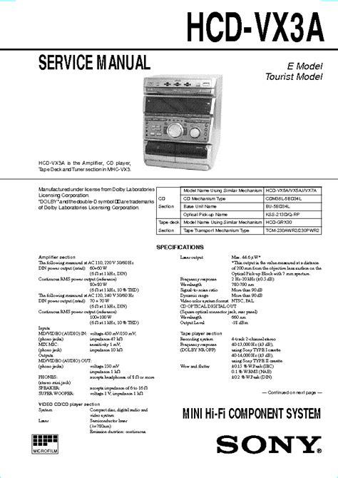 Mekanik Kaset Hifi Sony Hcd Vx33 sony cdp x33es sm 1 service manual schematics