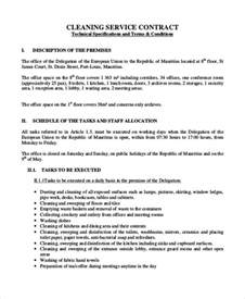 Cleaning Service Contract Sle by Sle Cleaning Contract Agreement 6 Exles In Word Pdf