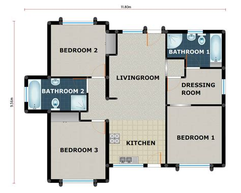 3 bedroom 2 bathroom pl0002b kmi houseplans