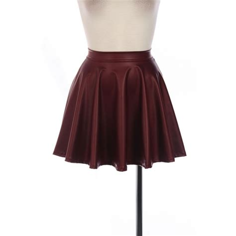 maroon faux leather skirt dress ala