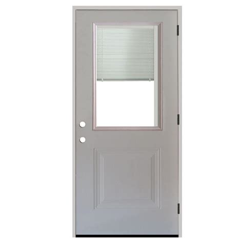 Blinds For Front Doors Steves Sons 34 In X 80 In 1 Panel 1 2 Lite Mini Blind Primed White Steel Prehung Front Door