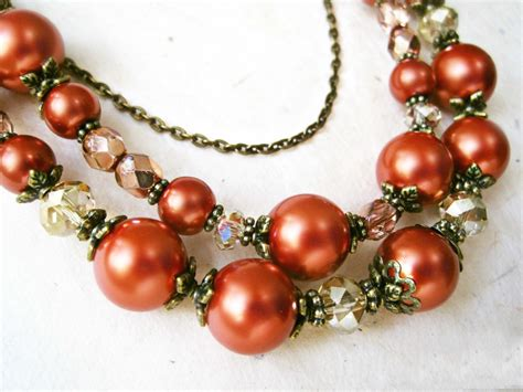 Burnt Orange and Topaz Layered Statement Pearl Necklace