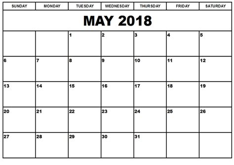 Free Printable Calendar May 2018 free may 2018 calendar in printable format templates