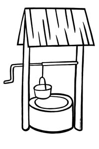 coloring page water well water well clipart clipart suggest
