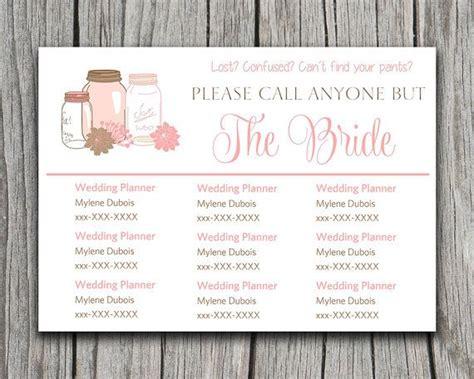 Mason Jar Please Call Anyone But The Bride Microsoft Word Wedding Insert Information Card Bridesmaid Information Template