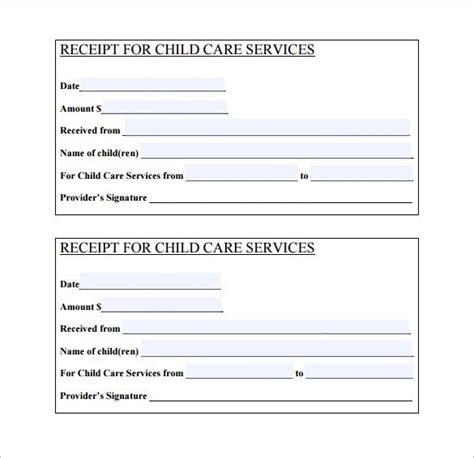 Daycare Receipt Template Freeware by Daycare Receipt Template 12 Free Word Excel Pdf