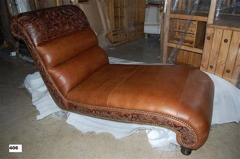 bills upholstery tooled leather chaise from wild bills furniture store