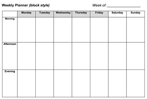 week by week planner template 6 weekly planner templates word excel templates weekly